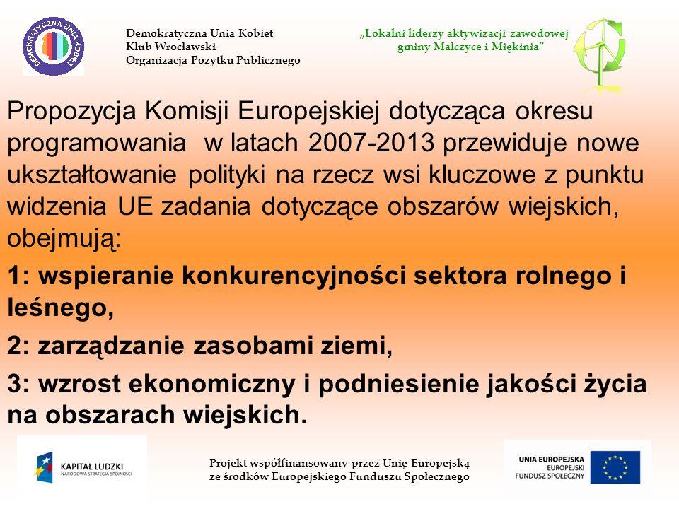 Propozycja Komisji Europejskiej dotycząca okresu programowania w latach 2007-2013 przewiduje nowe ukształtowanie polityki na rzecz wsi kluczowe z punk
