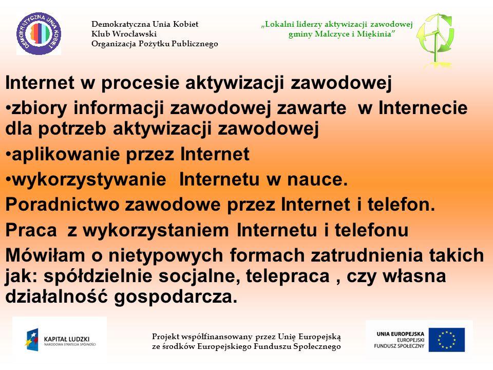 Internet w procesie aktywizacji zawodowej zbiory informacji zawodowej zawarte w Internecie dla potrzeb aktywizacji zawodowej aplikowanie przez Interne