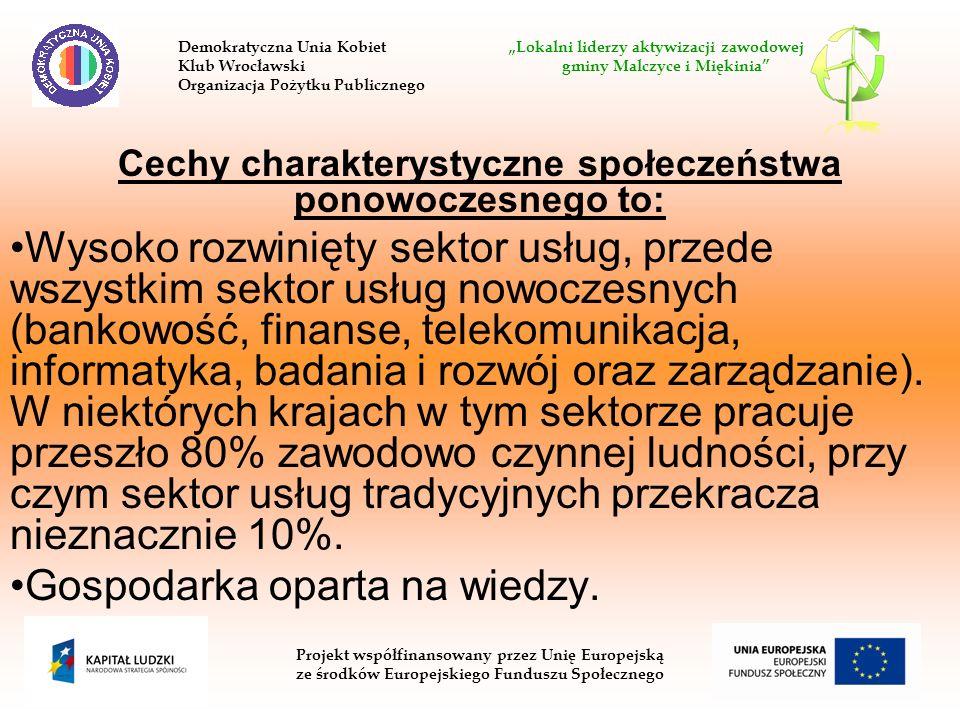 Cechy charakterystyczne społeczeństwa ponowoczesnego to: Wysoko rozwinięty sektor usług, przede wszystkim sektor usług nowoczesnych (bankowość, finans