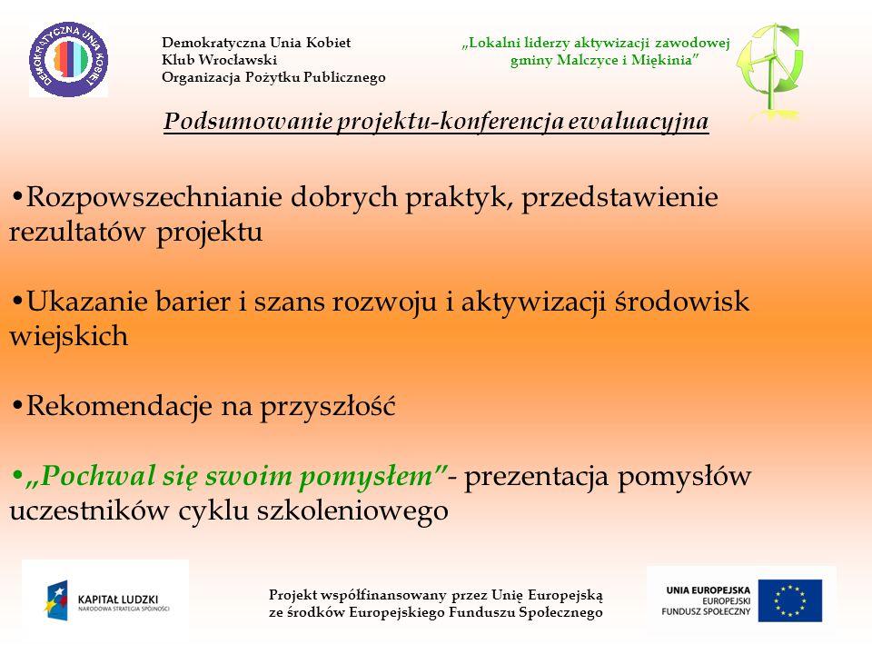 Projekt współfinansowany przez Unię Europejską ze środków Europejskiego Funduszu Społecznego Podsumowanie projektu-konferencja ewaluacyjna Rozpowszechnianie dobrych praktyk, przedstawienie rezultatów projektu Ukazanie barier i szans rozwoju i aktywizacji środowisk wiejskich Rekomendacje na przyszłość Pochwal się swoim pomysłem - prezentacja pomysłów uczestników cyklu szkoleniowego Demokratyczna Unia Kobiet Lokalni liderzy aktywizacji zawodowej Klub Wrocławski gminy Malczyce i Miękinia Organizacja Pożytku Publicznego
