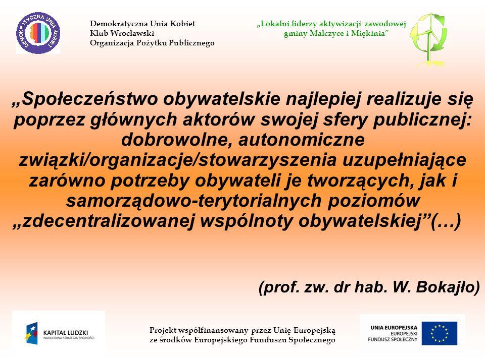 Społeczeństwo obywatelskie najlepiej realizuje się poprzez głównych aktorów swojej sfery publicznej: dobrowolne, autonomiczne związki/organizacje/stowarzyszenia uzupełniające zarówno potrzeby obywateli je tworzących, jak i samorządowo-terytorialnych poziomów zdecentralizowanej wspólnoty obywatelskiej(…) (prof.