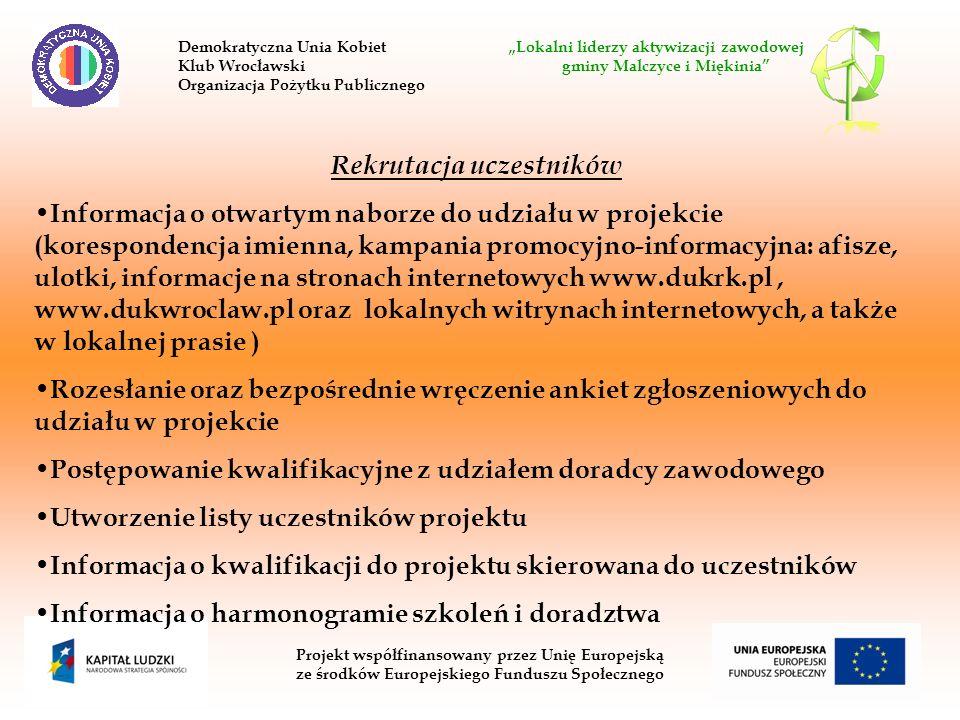 Projekt współfinansowany przez Unię Europejską ze środków Europejskiego Funduszu Społecznego Rekrutacja uczestników Informacja o otwartym naborze do udziału w projekcie (korespondencja imienna, kampania promocyjno-informacyjna: afisze, ulotki, informacje na stronach internetowych www.dukrk.pl, www.dukwroclaw.pl oraz lokalnych witrynach internetowych, a także w lokalnej prasie ) Rozesłanie oraz bezpośrednie wręczenie ankiet zgłoszeniowych do udziału w projekcie Postępowanie kwalifikacyjne z udziałem doradcy zawodowego Utworzenie listy uczestników projektu Informacja o kwalifikacji do projektu skierowana do uczestników Informacja o harmonogramie szkoleń i doradztwa Demokratyczna Unia Kobiet Lokalni liderzy aktywizacji zawodowej Klub Wrocławski gminy Malczyce i Miękinia Organizacja Pożytku Publicznego