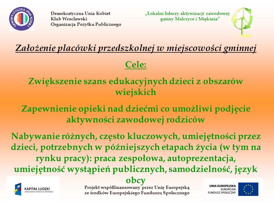 Projekt współfinansowany przez Unię Europejską ze środków Europejskiego Funduszu Społecznego Założenie placówki przedszkolnej w miejscowości gminnej C