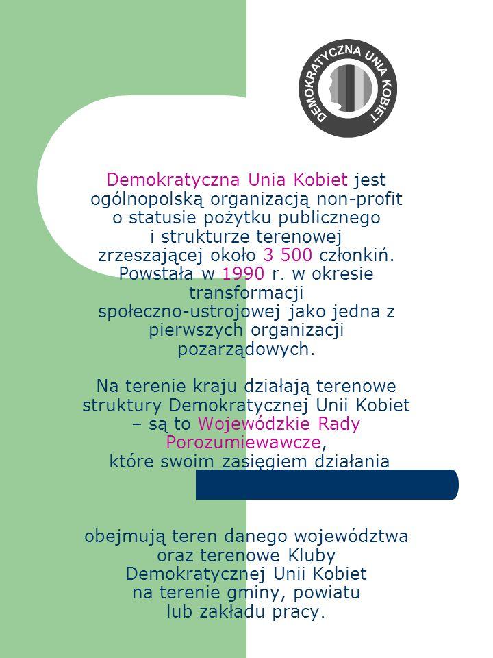 Demokratyczna Unia Kobiet jest ogólnopolską organizacją non-profit o statusie pożytku publicznego i strukturze terenowej zrzeszającej około 3 500 czło