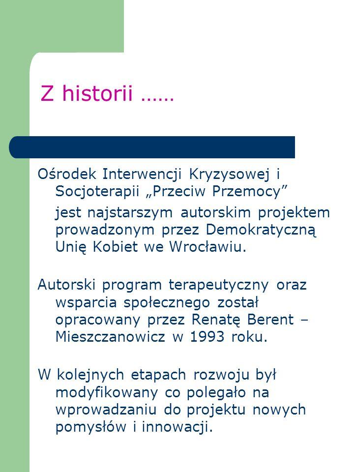 Z historii …… Ośrodek Interwencji Kryzysowej i Socjoterapii Przeciw Przemocy jest najstarszym autorskim projektem prowadzonym przez Demokratyczną Unię