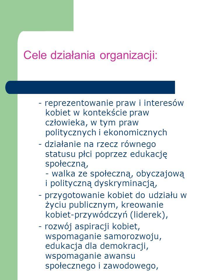Cele działania organizacji: - reprezentowanie praw i interesów kobiet w kontekście praw człowieka, w tym praw politycznych i ekonomicznych - działanie