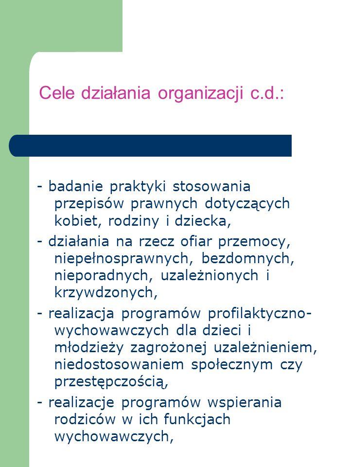 Cele działania organizacji c.d.: - badanie praktyki stosowania przepisów prawnych dotyczących kobiet, rodziny i dziecka, - działania na rzecz ofiar pr