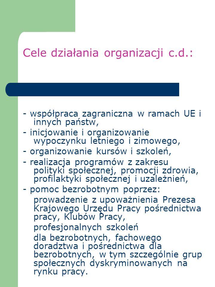 Cele działania organizacji c.d.: - współpraca zagraniczna w ramach UE i innych państw, - inicjowanie i organizowanie wypoczynku letniego i zimowego, -