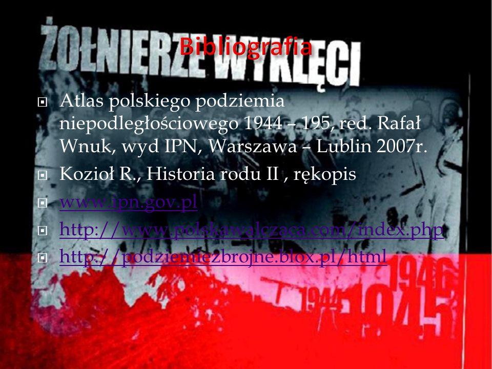Atlas polskiego podziemia niepodległościowego 1944 – 195, red. Rafał Wnuk, wyd IPN, Warszawa – Lublin 2007r. Kozioł R., Historia rodu II, rękopis www.