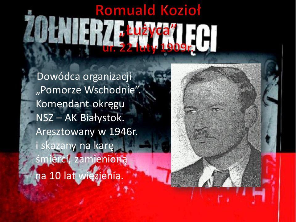 Dowódca organizacji Pomorze Wschodnie. Komendant okręgu NSZ – AK Białystok. Aresztowany w 1946r. i skazany na karę śmierci, zamienioną na 10 lat więzi