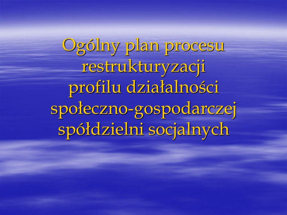 Ogólny plan procesu restrukturyzacji profilu działalności społeczno-gospodarczej spółdzielni socjalnych