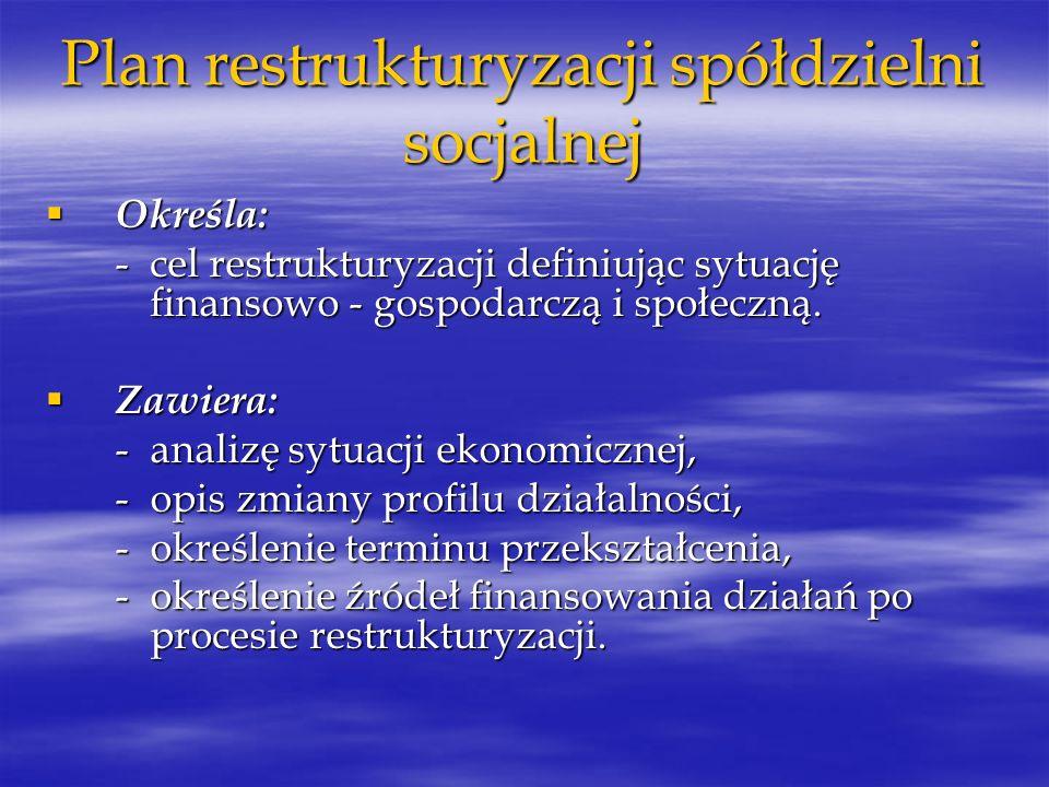 Plan restrukturyzacji spółdzielni socjalnej Określa: Określa: - cel restrukturyzacji definiując sytuację finansowo - gospodarczą i społeczną. Zawiera: