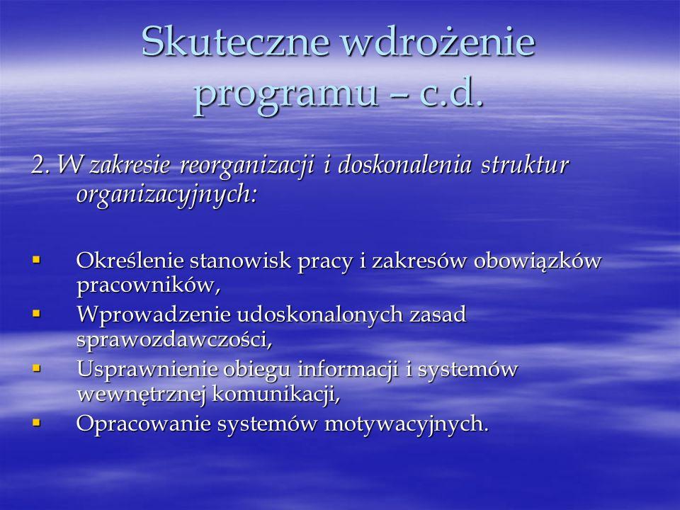 Skuteczne wdrożenie programu – c.d. 2. W zakresie reorganizacji i doskonalenia struktur organizacyjnych: Określenie stanowisk pracy i zakresów obowiąz