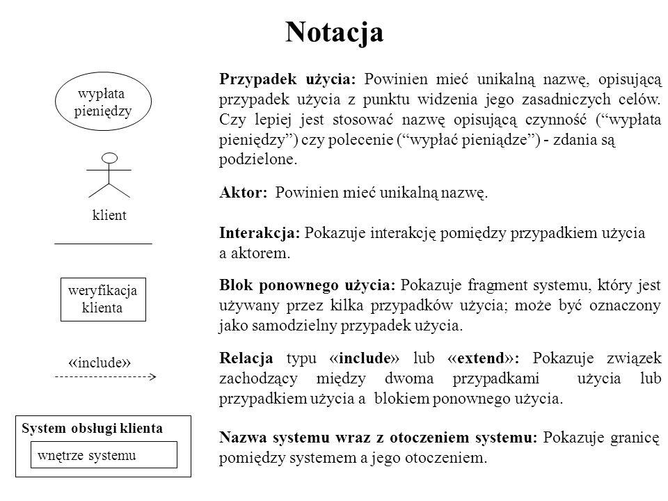 Notacja Przypadek użycia: Powinien mieć unikalną nazwę, opisującą przypadek użycia z punktu widzenia jego zasadniczych celów.