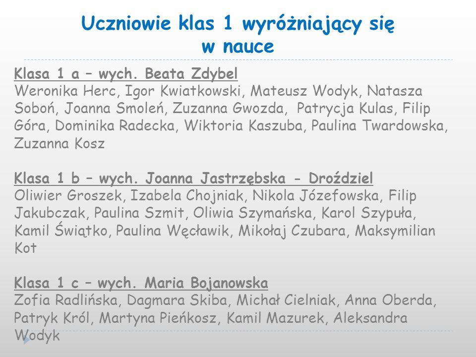 Uczniowie klas 1 wyróżniający się w nauce Klasa 1 a – wych. Beata Zdybel Weronika Herc, Igor Kwiatkowski, Mateusz Wodyk, Natasza Soboń, Joanna Smoleń,