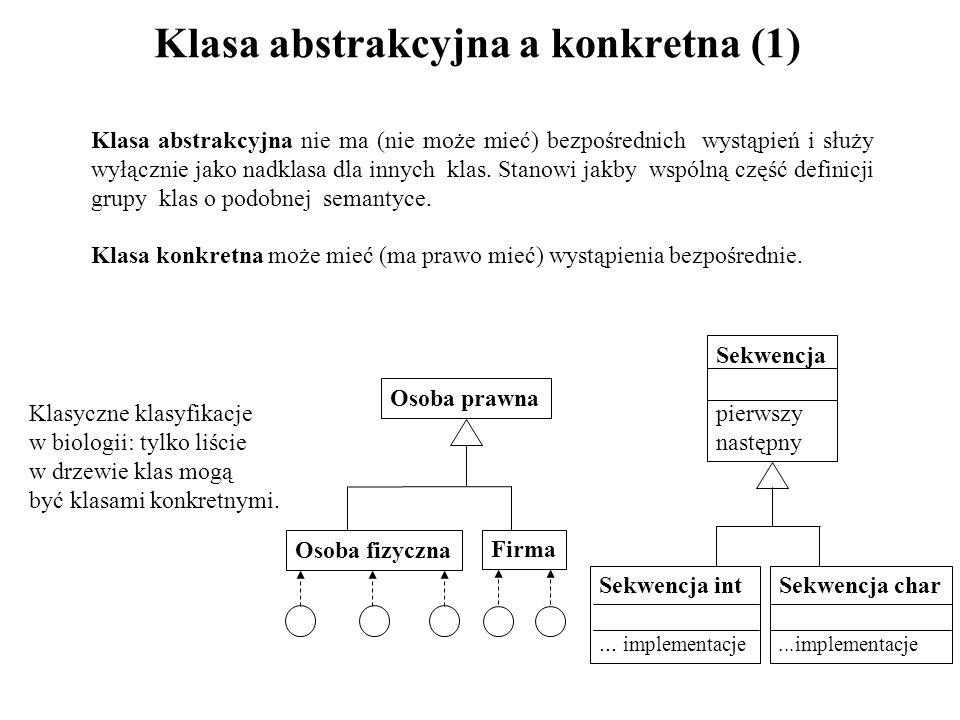 Klasa abstrakcyjna a konkretna (1) Osoba prawna Osoba fizyczna Firma Sekwencja pierwszy następny Sekwencja int... implementacje Sekwencja char...imple
