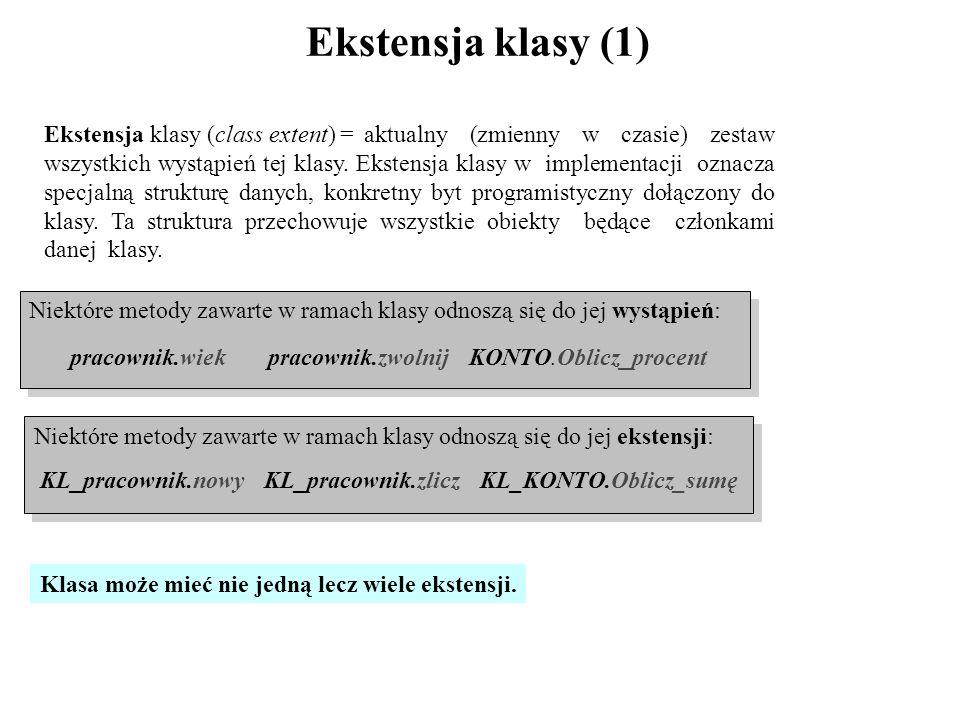 Ekstensja klasy (1) Ekstensja klasy (class extent) = aktualny (zmienny w czasie) zestaw wszystkich wystąpień tej klasy. Ekstensja klasy w implementacj