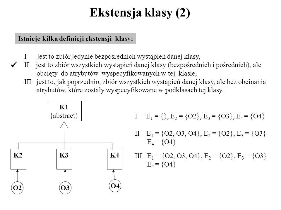 Ekstensja klasy (2) Istnieje kilka definicji ekstensji klasy: I jest to zbiór jedynie bezpośrednich wystąpień danej klasy, II jest to zbiór wszystkich