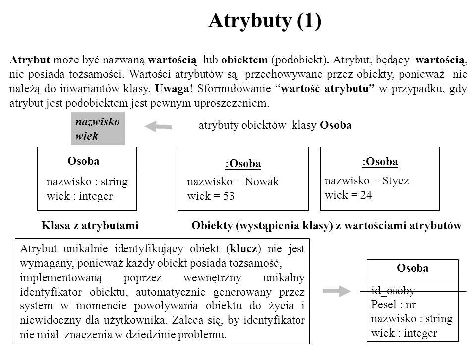 Atrybuty (1) Atrybut może być nazwaną wartością lub obiektem (podobiekt). Atrybut, będący wartością, nie posiada tożsamości. Wartości atrybutów są prz