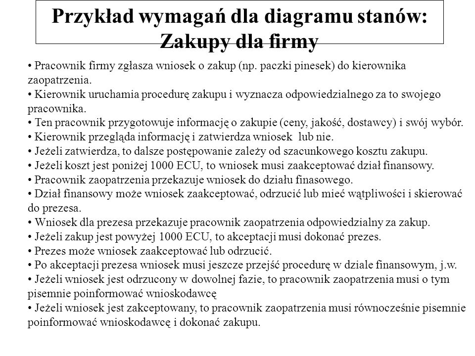 Przykład wymagań dla diagramu stanów: Zakupy dla firmy Pracownik firmy zgłasza wniosek o zakup (np. paczki pinesek) do kierownika zaopatrzenia. Kierow