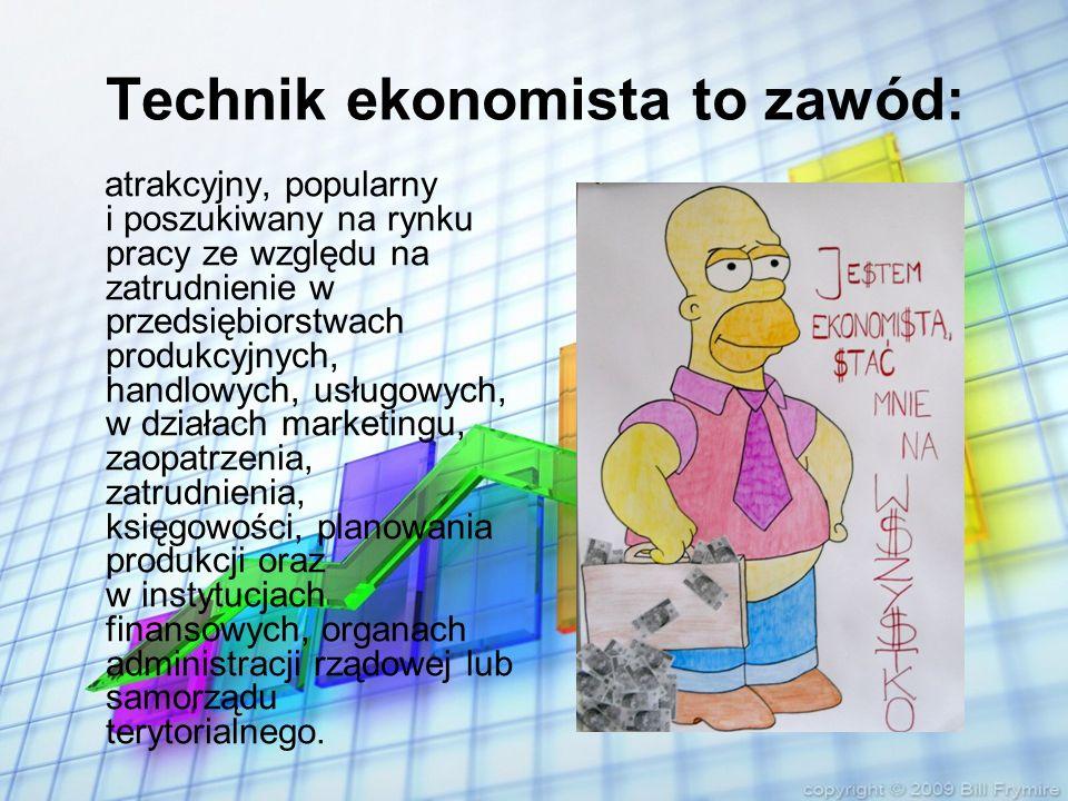 Technik ekonomista to zawód: który można kształcić w czteroletnim technikum po gimnazjum.