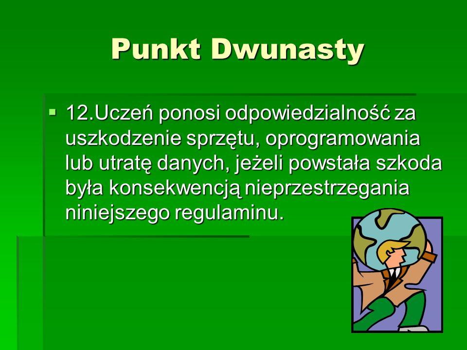 Punkt Dwunasty 12.Uczeń ponosi odpowiedzialność za uszkodzenie sprzętu, oprogramowania lub utratę danych, jeżeli powstała szkoda była konsekwencją nie