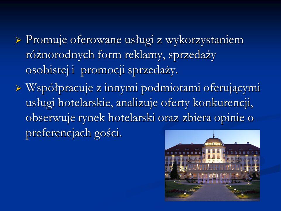 Prowadzi dokumentację eksploatacyjną obiektu hotelarskiego, oblicza i interpretuje wskaźniki wykorzystania bazy hotelowej oraz wskaźniki sprzedaży i opłacalności prowadzonej działalności.