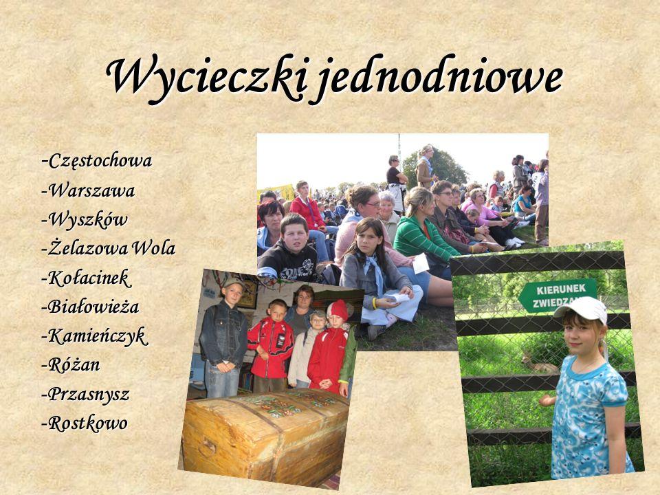 Wycieczki jednodniowe - Częstochowa -Warszawa-Wyszków -Żelazowa Wola -Kołacinek-Białowieża-Kamieńczyk-Różan-Przasnysz-Rostkowo