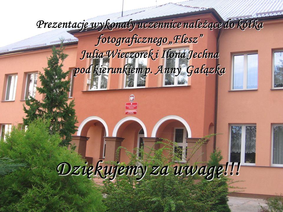 Dziękujemy za uwagę!!! Prezentację wykonały uczennice należące do kółka fotograficznego Flesz Julia Wieczorek i Ilona Jechna pod kierunkiem p. Anny Ga