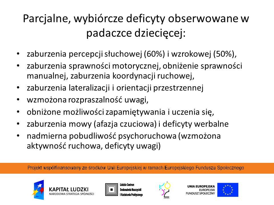 Parcjalne, wybiórcze deficyty obserwowane w padaczce dziecięcej: zaburzenia percepcji słuchowej (60%) i wzrokowej (50%), zaburzenia sprawności motoryc