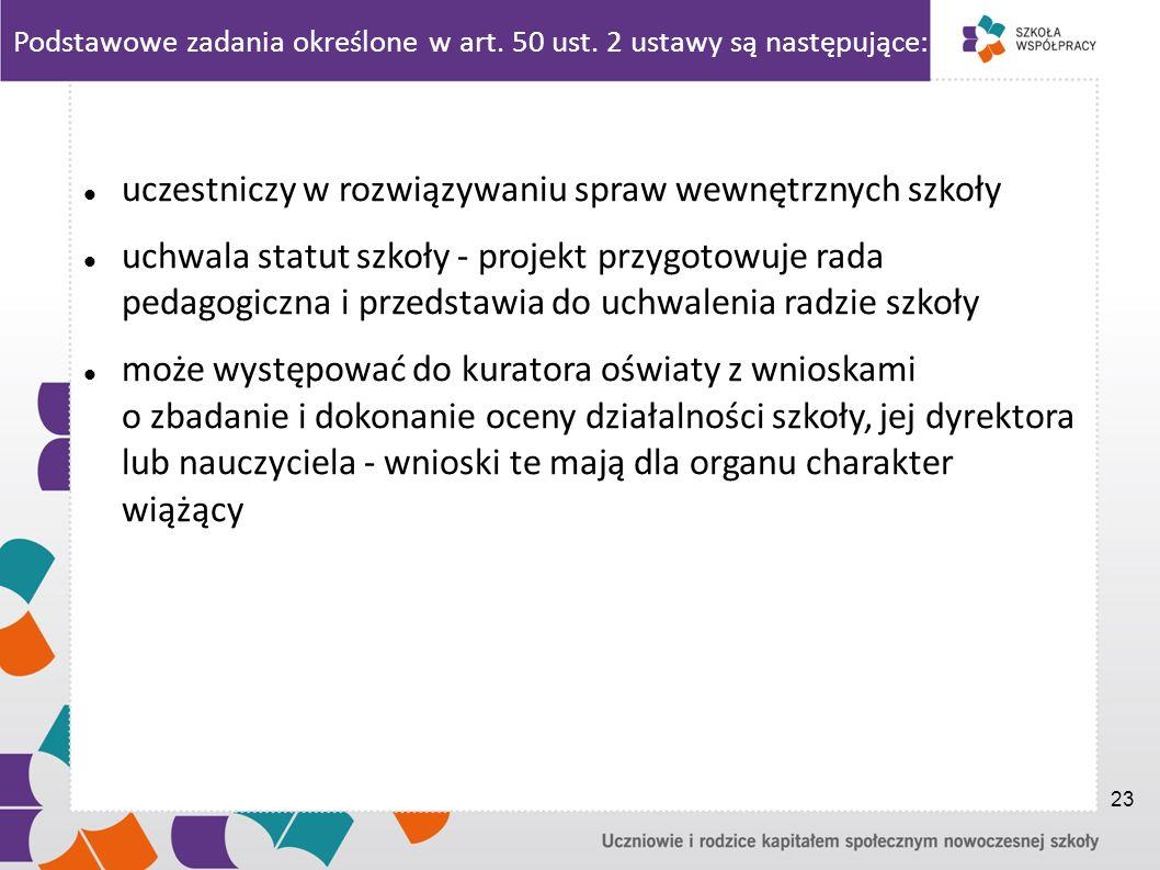 Podstawowe zadania określone w art. 50 ust. 2 ustawy są następujące: uczestniczy w rozwiązywaniu spraw wewnętrznych szkoły uchwala statut szkoły - pro