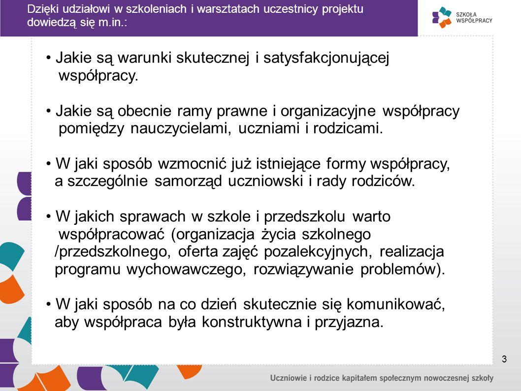 Najważniejsze działania w projekcie: BADANIA: - sondaż wśród rodziców dzieci w wieku szkolnym - ogólnopolskie badanie internetoweadresowane do dyrektorów szkół - analiza rozwiązań prawnych - konsultacje społeczne WSPARCIE DLA SZKÓŁ I PRZEDSZKOLI: - rekrutacja 1034 szkół i przedszkoli w całej Polsce - szkolenia: jednodniowe dla rodziców i dla ucznióworaz dwudniowe dla dyrektorów i nauczycieli; - debaty - organizowane w szkołach i przedszkolach, osobno przez uczniów, przez rodziców i przez nauczycieli - dwa rozdzielone w czasie, jednodniowe warsztaty w gronie nauczycieli, uczniów i rodziców - mające na celu opracowanie i pilotażowe wdrożenie programu współpracy w szkole i przedszkolu STRONA INTERNETOWA : www.szkolawspolpracy.plPORTALE: - dla rodziców - dla uczniów 4