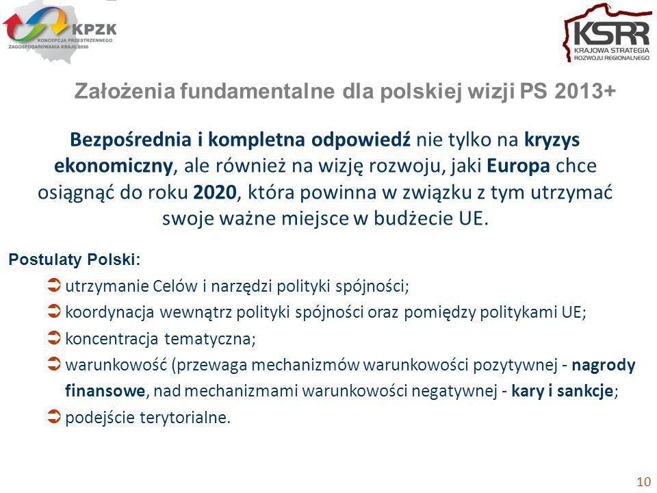 Założenia fundamentalne dla polskiej wizji PS 2013+ Bezpośrednia i kompletna odpowiedź nie tylko na kryzys ekonomiczny, ale również na wizję rozwoju, jaki Europa chce osiągnąć do roku 2020, która powinna w związku z tym utrzymać swoje ważne miejsce w budżecie UE.
