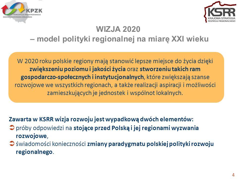 Zawarta w KSRR wizja rozwoju jest wypadkową dwóch elementów: próby odpowiedzi na stojące przed Polską i jej regionami wyzwania rozwojowe, świadomości konieczności zmiany paradygmatu polskiej polityki rozwoju regionalnego.