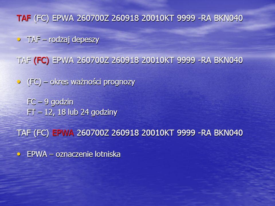 TAF – rodzaj depeszy TAF – rodzaj depeszy TAF (FC) EPWA 260700Z 260918 20010KT 9999 -RA BKN040 (FC) – okres ważności prognozy (FC) – okres ważności pr