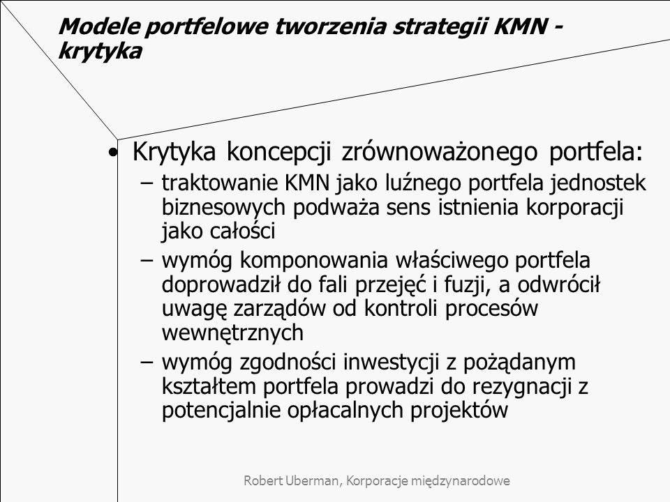 Modele portfelowe tworzenia strategii KMN - krytyka Krytyka koncepcji zrównoważonego portfela: –traktowanie KMN jako luźnego portfela jednostek biznes