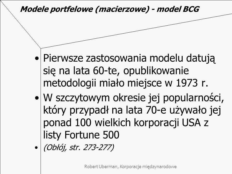 Robert Uberman, Korporacje międzynarodowe Modele portfelowe (macierzowe) - model BCG Pierwsze zastosowania modelu datują się na lata 60-te, opublikowa