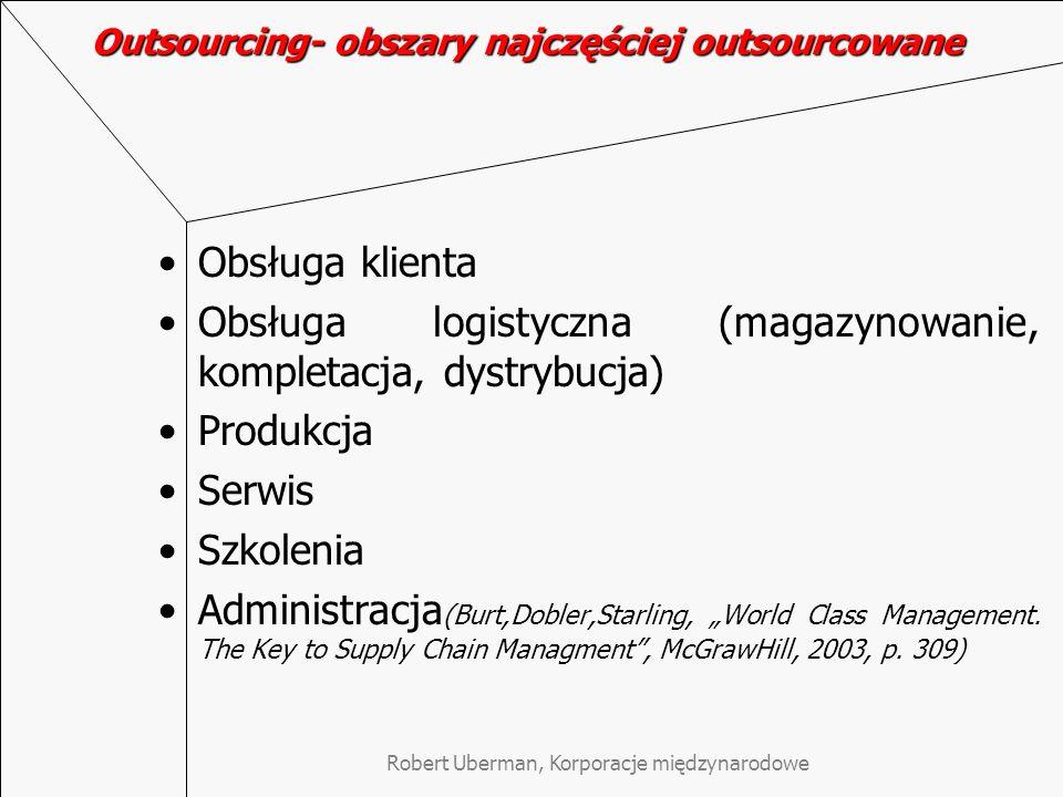 Robert Uberman, Korporacje międzynarodowe Outsourcing- obszary najczęściej outsourcowane Obsługa klienta Obsługa logistyczna (magazynowanie, kompletac