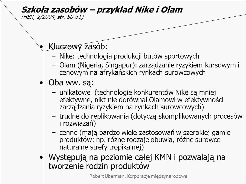 Robert Uberman, Korporacje międzynarodowe Szkoła zasobów – przykład Nike i Olam Szkoła zasobów – przykład Nike i Olam (HBR, 2/2004, str. 50-61) Kluczo