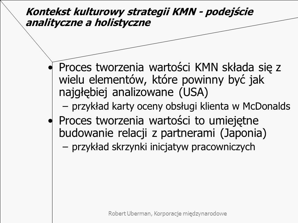 Robert Uberman, Korporacje międzynarodowe Kontekst kulturowy strategii KMN - podejście analityczne a holistyczne Proces tworzenia wartości KMN składa