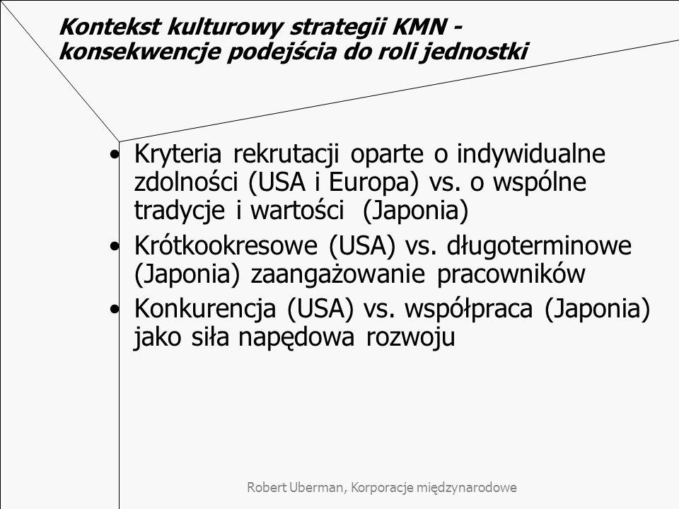 Robert Uberman, Korporacje międzynarodowe Kontekst kulturowy strategii KMN - konsekwencje podejścia do roli jednostki Kryteria rekrutacji oparte o indywidualne zdolności (USA i Europa) vs.