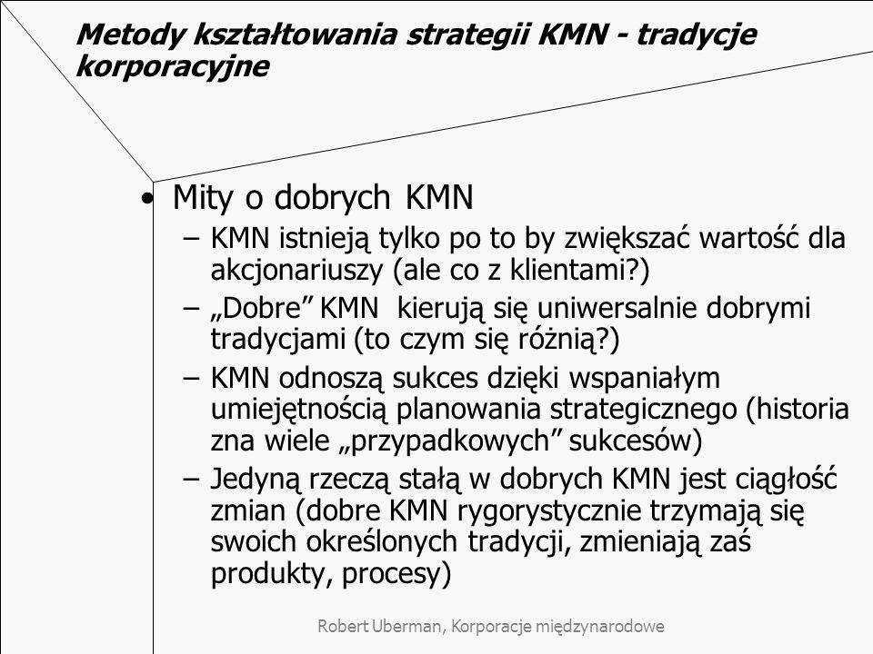 Metody kształtowania strategii KMN - tradycje korporacyjne Mity o dobrych KMN –KMN istnieją tylko po to by zwiększać wartość dla akcjonariuszy (ale co z klientami?) –Dobre KMN kierują się uniwersalnie dobrymi tradycjami (to czym się różnią?) –KMN odnoszą sukces dzięki wspaniałym umiejętnością planowania strategicznego (historia zna wiele przypadkowych sukcesów) –Jedyną rzeczą stałą w dobrych KMN jest ciągłość zmian (dobre KMN rygorystycznie trzymają się swoich określonych tradycji, zmieniają zaś produkty, procesy)