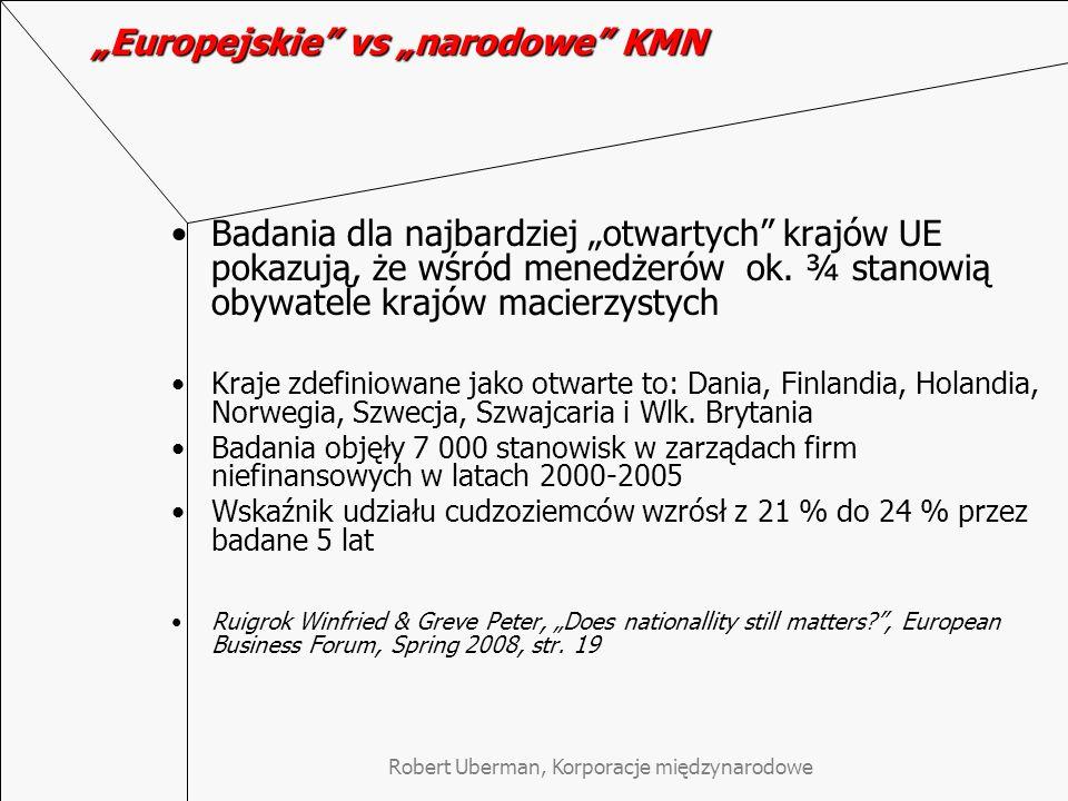 Robert Uberman, Korporacje międzynarodowe Europejskie vs narodowe KMN Badania dla najbardziej otwartych krajów UE pokazują, że wśród menedżerów ok. ¾