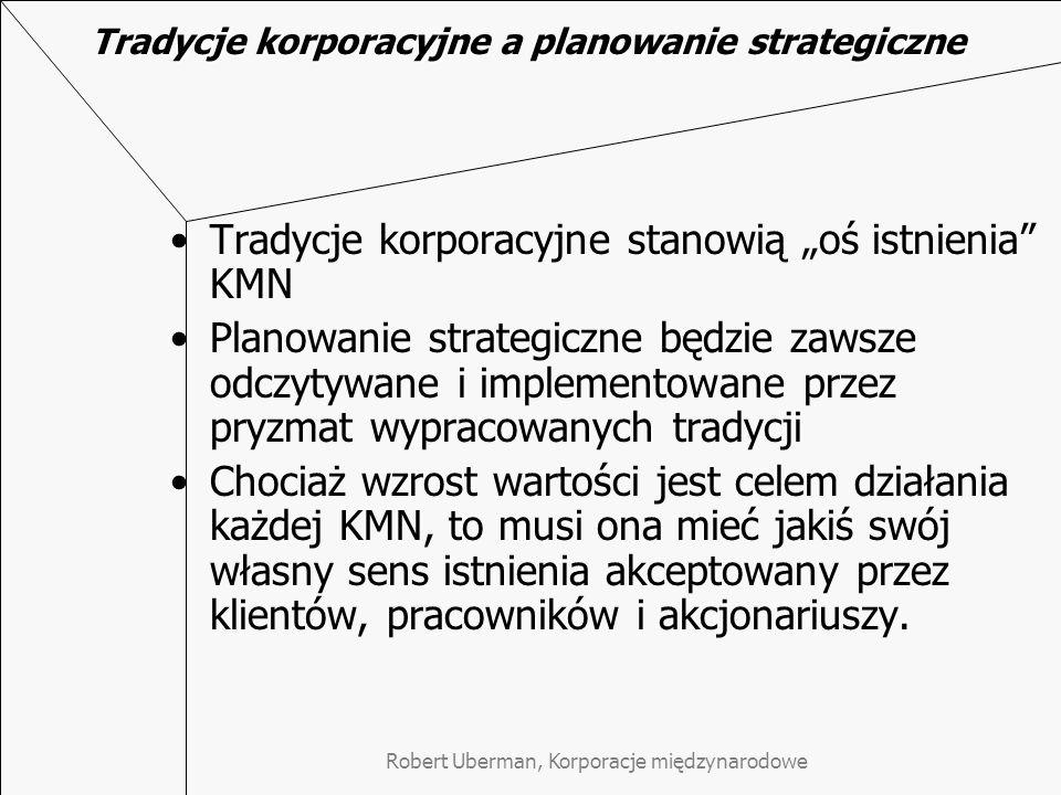 Robert Uberman, Korporacje międzynarodowe Tradycje korporacyjne a planowanie strategiczne Tradycje korporacyjne stanowią oś istnienia KMN Planowanie s