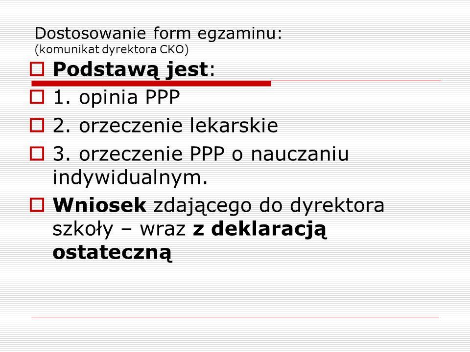 Dostosowanie form egzaminu: (komunikat dyrektora CKO) Podstawą jest: 1.
