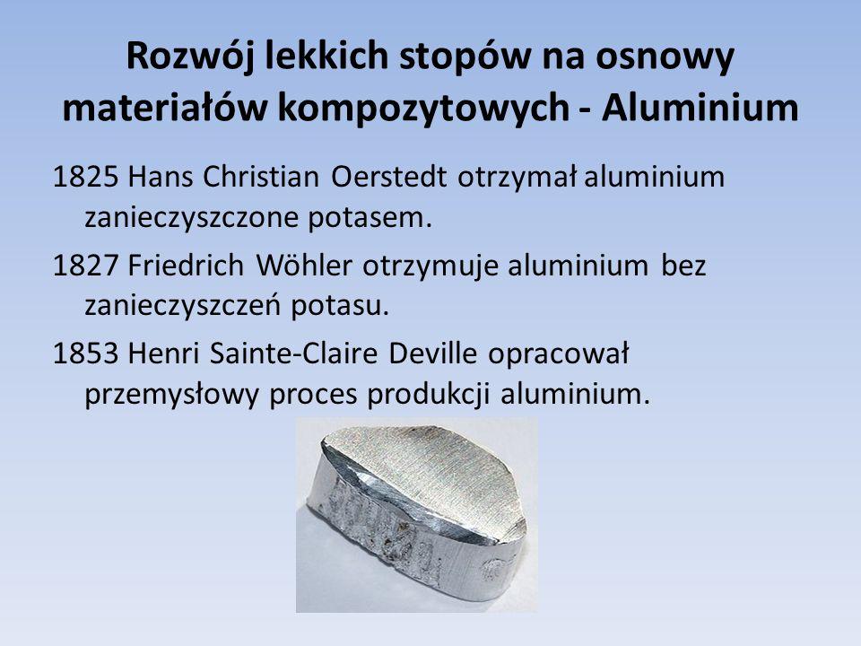 Rozwój lekkich stopów na osnowy materiałów kompozytowych - Aluminium 1825 Hans Christian Oerstedt otrzymał aluminium zanieczyszczone potasem. 1827 Fri
