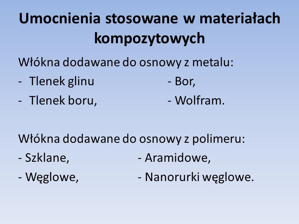 Umocnienia stosowane w materiałach kompozytowych Włókna dodawane do osnowy z metalu: -Tlenek glinu- Bor, -Tlenek boru,- Wolfram. Włókna dodawane do os