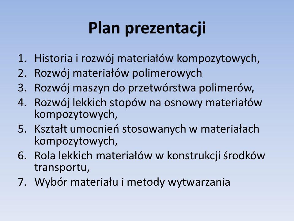 Plan prezentacji 1.Historia i rozwój materiałów kompozytowych, 2.Rozwój materiałów polimerowych 3.Rozwój maszyn do przetwórstwa polimerów, 4.Rozwój le