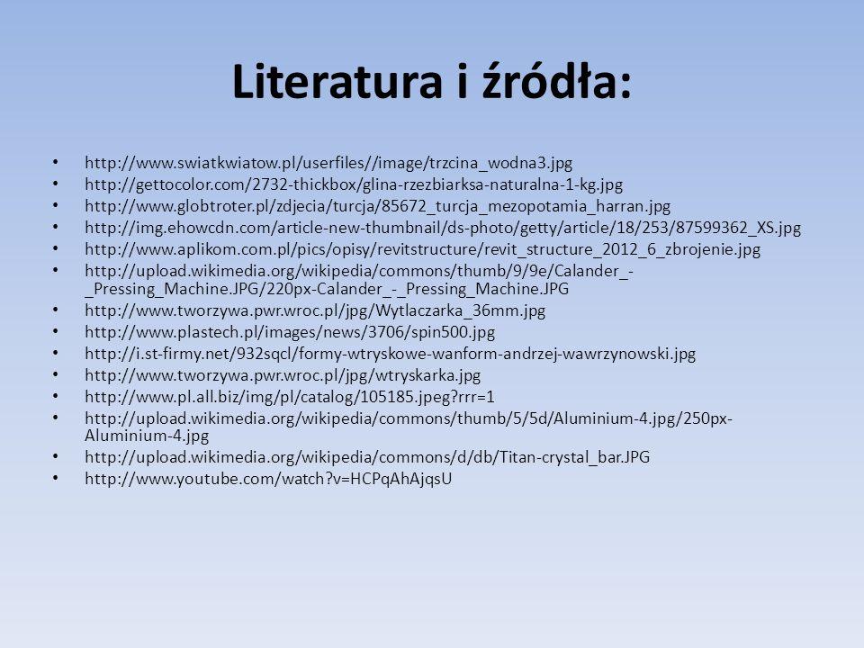 Literatura i źródła: http://www.swiatkwiatow.pl/userfiles//image/trzcina_wodna3.jpg http://gettocolor.com/2732-thickbox/glina-rzezbiarksa-naturalna-1-