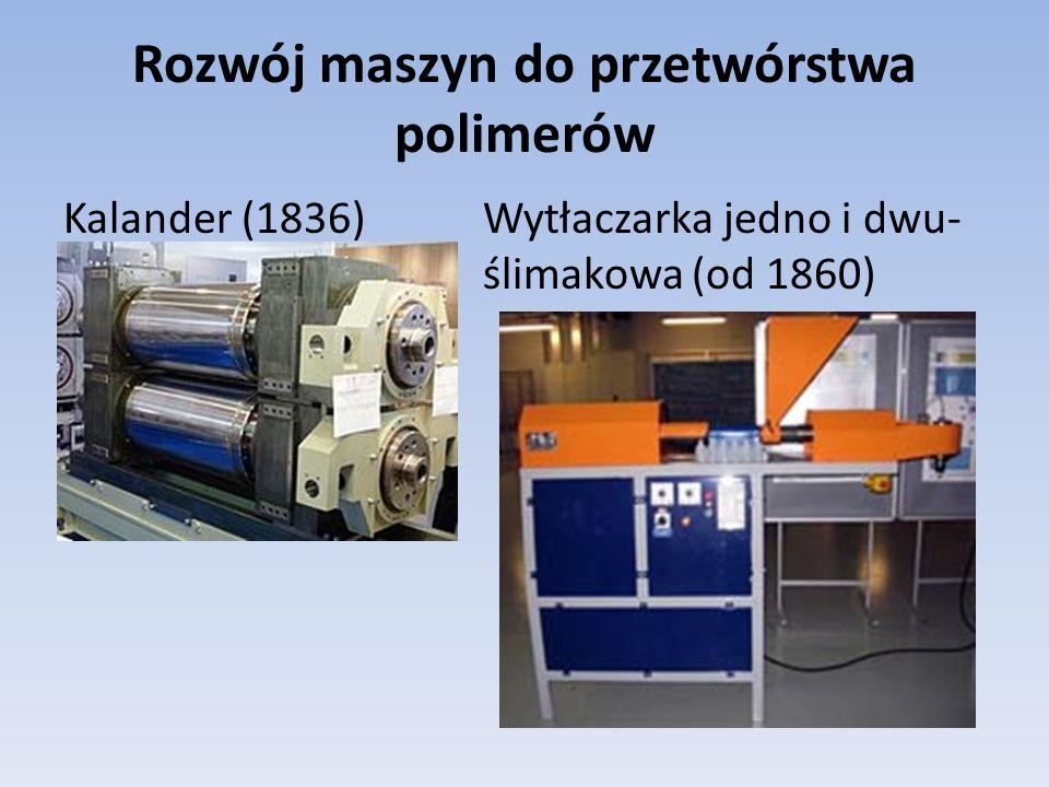 Rozwój maszyn do przetwórstwa polimerów Kalander (1836)Wytłaczarka jedno i dwu- ślimakowa (od 1860)